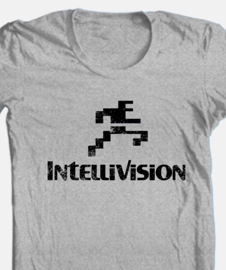 Intellivision T-shirt Free Shipping retro 80's vintage distressed logo grey tee