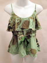 Plenty by Tracy Reese 8 Top Green Floral Silk Tank Ruffle Neck Adjustabl... - $22.52