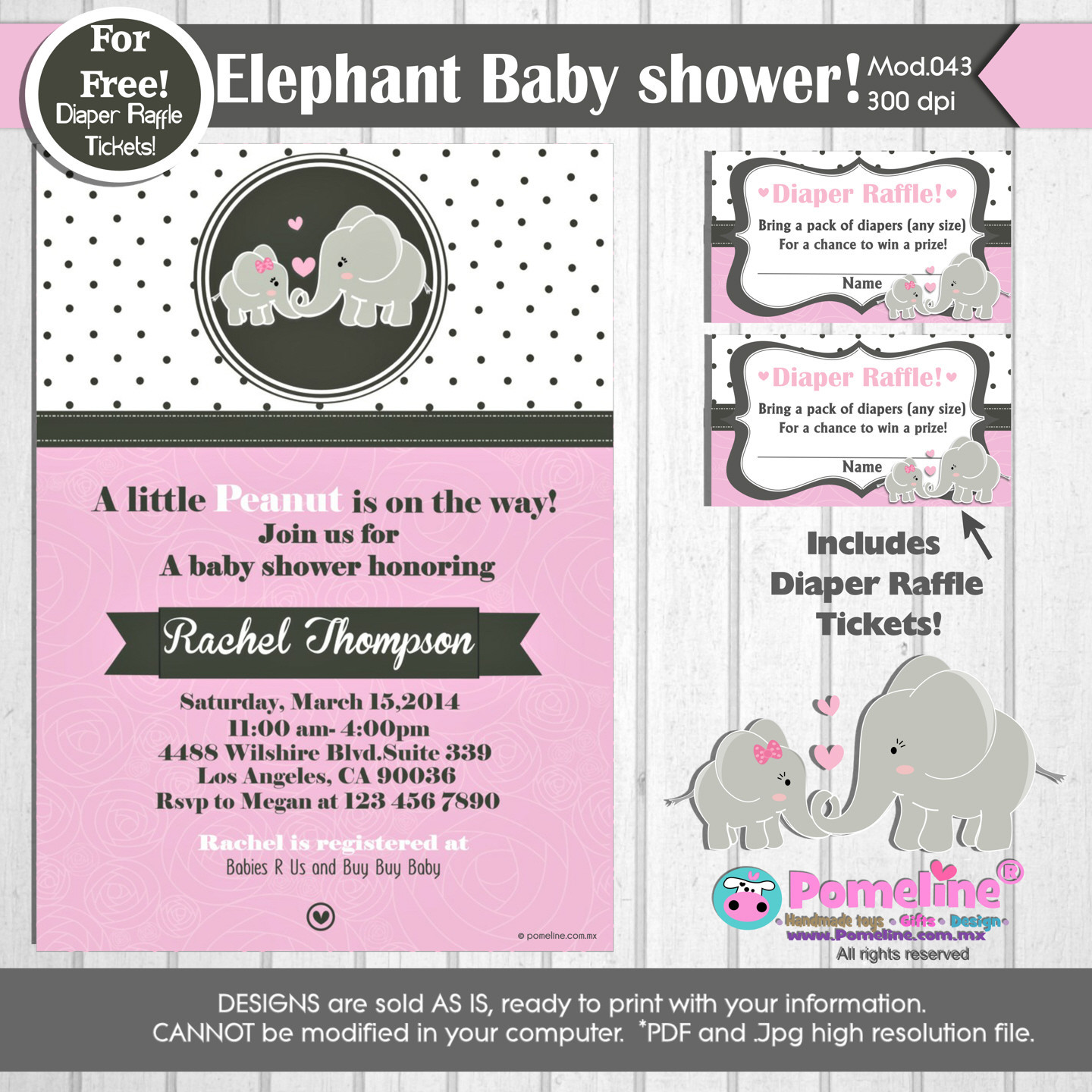 printable little peanut baby shower invitation free diaper raffle