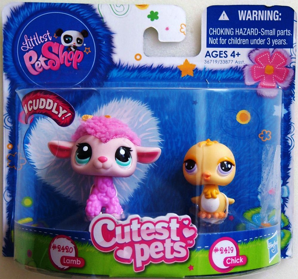 Littlest Pet Shop Baby Chick and Soft Fluffy Pink Lamb