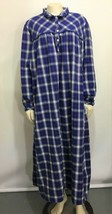 L.L. Bean Womens 2X Blue Plaid Cotton Flannel Long Nightgown - $63.21