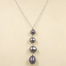 NECKLACE WHITE GOLD 18K, PENDANT PEARLS BLACK, ROUND OVAL AND DROP, CHAIN ROLO' image 1