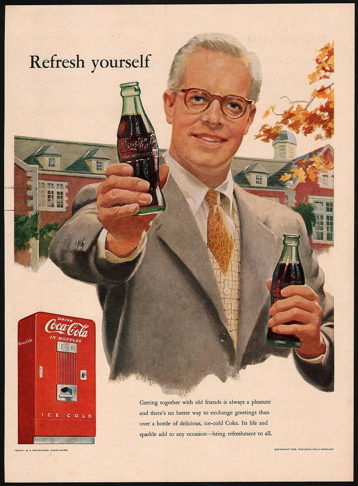 Primary image for Vintage magazine ad COCA COLA from 1952 man holding bottle and a machine pics