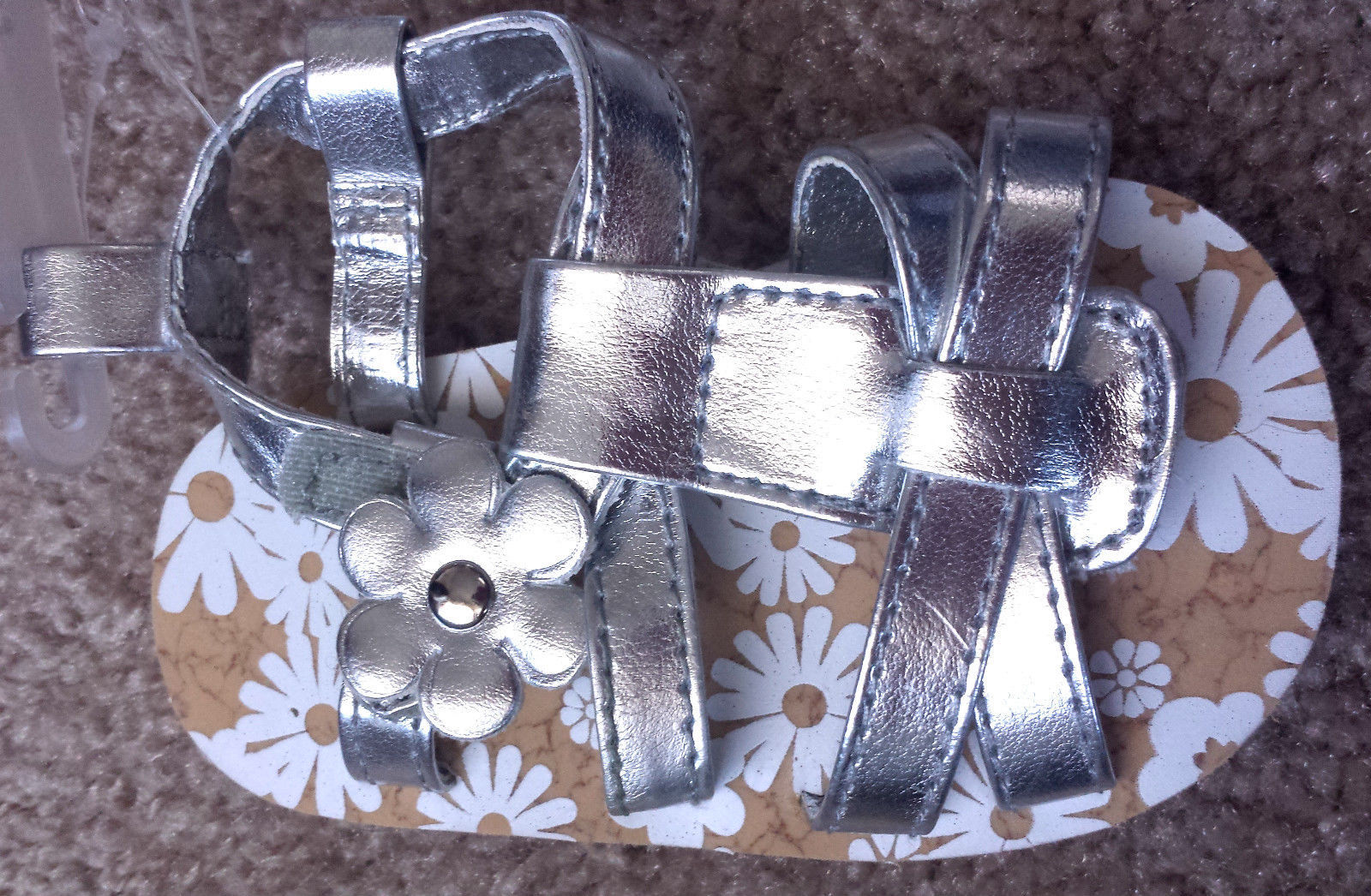 NEW Baby Girl's Size 2 Metallic Silver Floral W/ Studs Designed Velcro Sandals