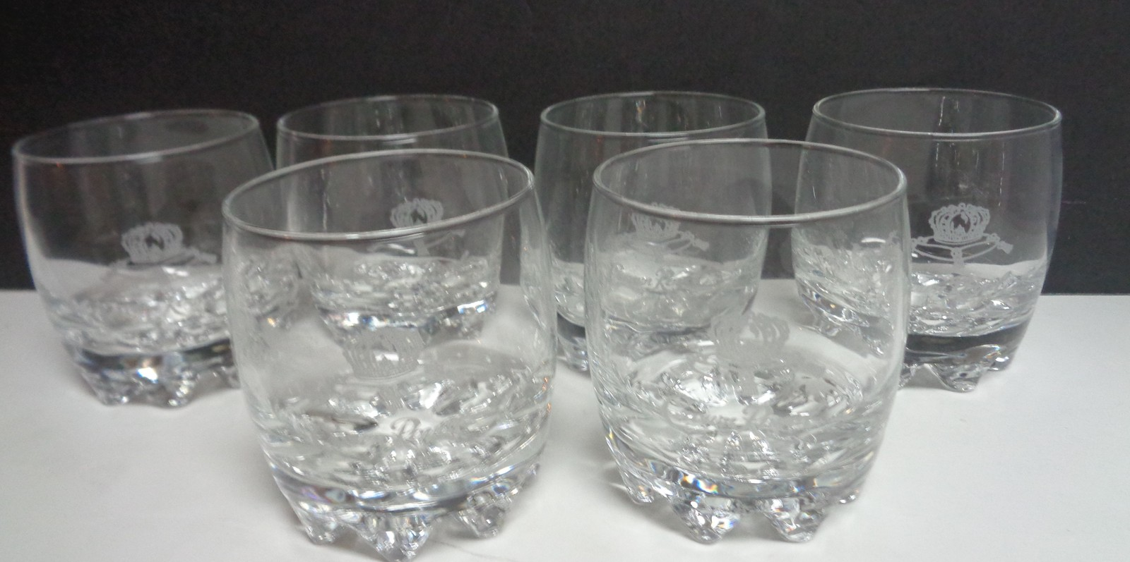 Crown Royal Canadian Whiskey Glass Low Ball Turkey Starburst Base Set Of 6