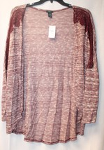 New Womens Plus Size 3X Burgundy W Crochet Shoulder Open Front Cardigan Wrap Top - $19.34