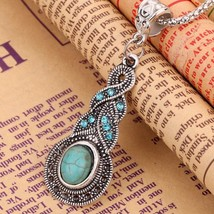 New Tibetan Silver Blue Turquoise Chain Crystal Pendant Necklace Fashion... - $10.88