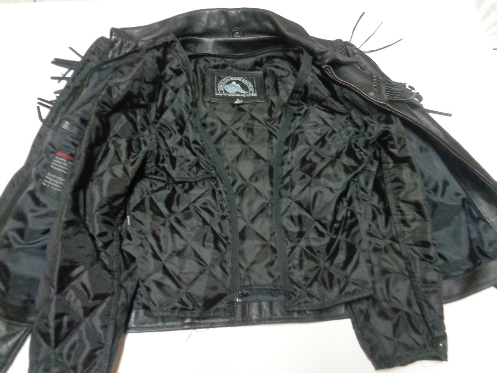 Himalaya Black Leather Fringed Motorcycle Jacket Ladies Sz 8