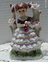 Vintage Girl in PINK Ruffled Dress // Tree Bower Decorative Figurine - $11.02