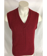 London Fog Red Vest Cable Knit Men's Medium Made in USA - $19.99