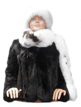 Alpakaandmore Womens Chinchilla Rabbit Fur Jacket Alpaca Fur Hat Scarf - $772.20
