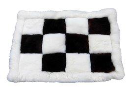 Alpakaandmore Genuine Peruvian Alpaca Fur Rug Pelt Chess Design, Mat Covered ... - $116.82