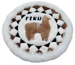 Alpakaandmore Original Peruvian Alpaca Fur Rug Round 31.50 Handmade - $113.85