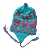 Alpacaandmore Women Chullo Hat Lama Douple Knitted Alpaca Wool Light Blue (On... - $27.72