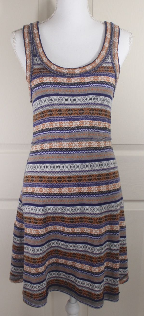 Free People Fair Isle Nordic Wool Blend Sleeveless Sweater Knit Stretch Dress M