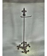 Standing Fleur De Lys Cast Iron Toilet Paper Holder Portable - $58.79