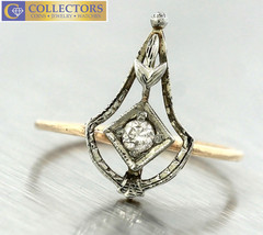 Lovely Victorian 14K Yellow White Gold Floral Diamond Conversion Ring  - $299.94
