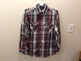 Beverly Hills Polo Club Plaid Long Sleeve Button Up Collared Shirt Size M image 2