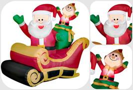 Inflatable Santa On Sleigh Christmas LED Lighted Outdoor Yard Decoration - $79.40
