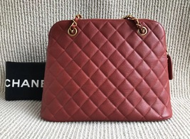 100% Authentic Chanel Vintage Red Quilted Caviar Classic Tote Bag GHW image 2