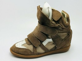 Isabel Marant Beckett Grip-Strap Wedge Sneakers Brown Suede Size 39 - $118.79