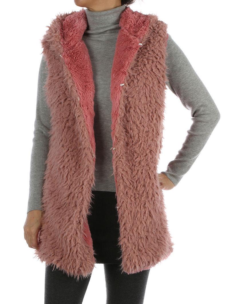 Plush Hooded Soft Faux Fur Vest Sleeveless Jacket Blanket Vest Pink