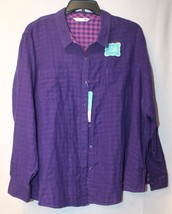 New Lee Riders Womens Plus Size 3X Purple W Checkered Inside Button Down Shirt - $19.33
