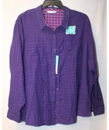 NEW LEE RIDERS WOMENS PLUS SIZE 3X PURPLE W CHECKERED INSIDE BUTTON DOWN... - $19.33