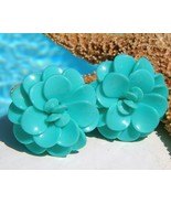 Vintage lucite plastic flower earrings turquoise blue clips thumbtall
