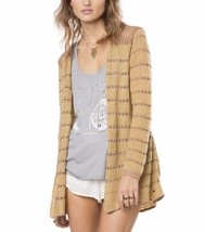 O'Neill FLYER Womens Open Front Cardigan Sweater Size Small Carmel NEW 2017 - $74.00