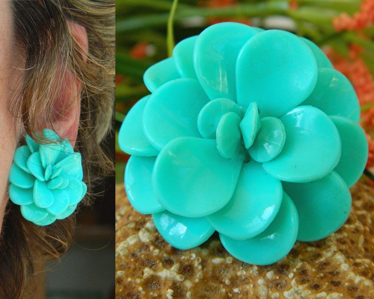 Vintage Lucite Plastic Flower Earrings Turquoise Blue Clips
