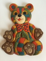 Vintage 1979 Foam Craft Patchwork Teddy Bear Wall Decor Plaque Quilted D... - €13,16 EUR