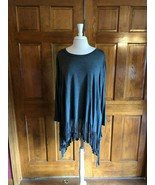 Oddy Gray Long Sleeve Tunic Top w/ Fringe - $19.00