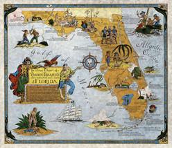 Florida Pirates Buried Treasure Hunting Map Poster Wall Art Print Vintag... - $12.38+