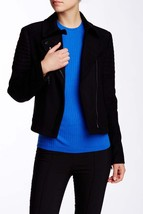 Vince Womens Black Wool Quilted Contrast Asymmetric Biker Moto Jacket Coat L - $111.99