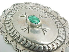 MALACHITE and STERLING Silver Vintage BROOCH Pin - 2 inches wide - South... - $135.00