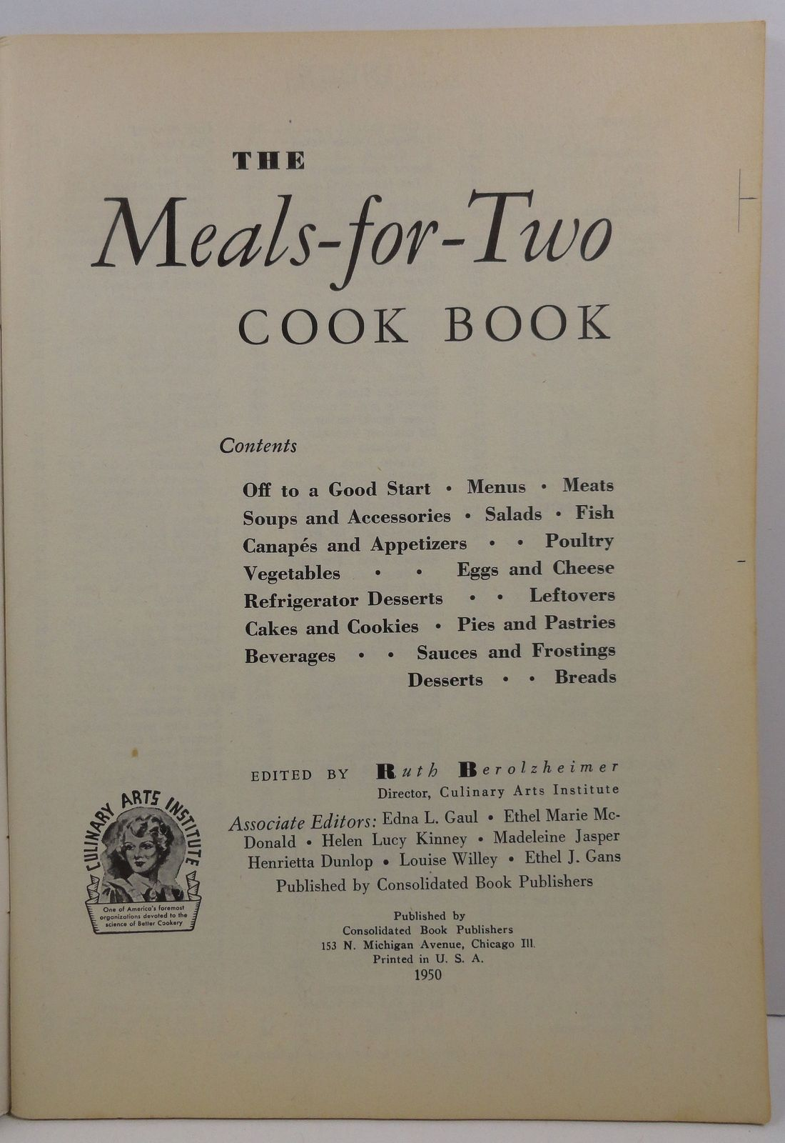 The Meals for Two Cook Book  Ruth Berolzheimer 1950