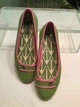 Sperry Top-Sider Pink Green White Canvas Ballet Flats Boat Shoes Size 7 M EUC - $34.99