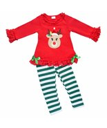 Unique Baby Girls Striped Christmas Rudolph 2 Piece Outfit(7/XXL, Red) - $22.99