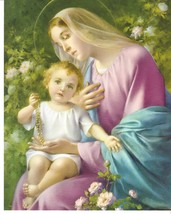 Catholic Print Picture OUR LADY of the ROSARY Virgin Mary w/ Child Jesus... - $14.01