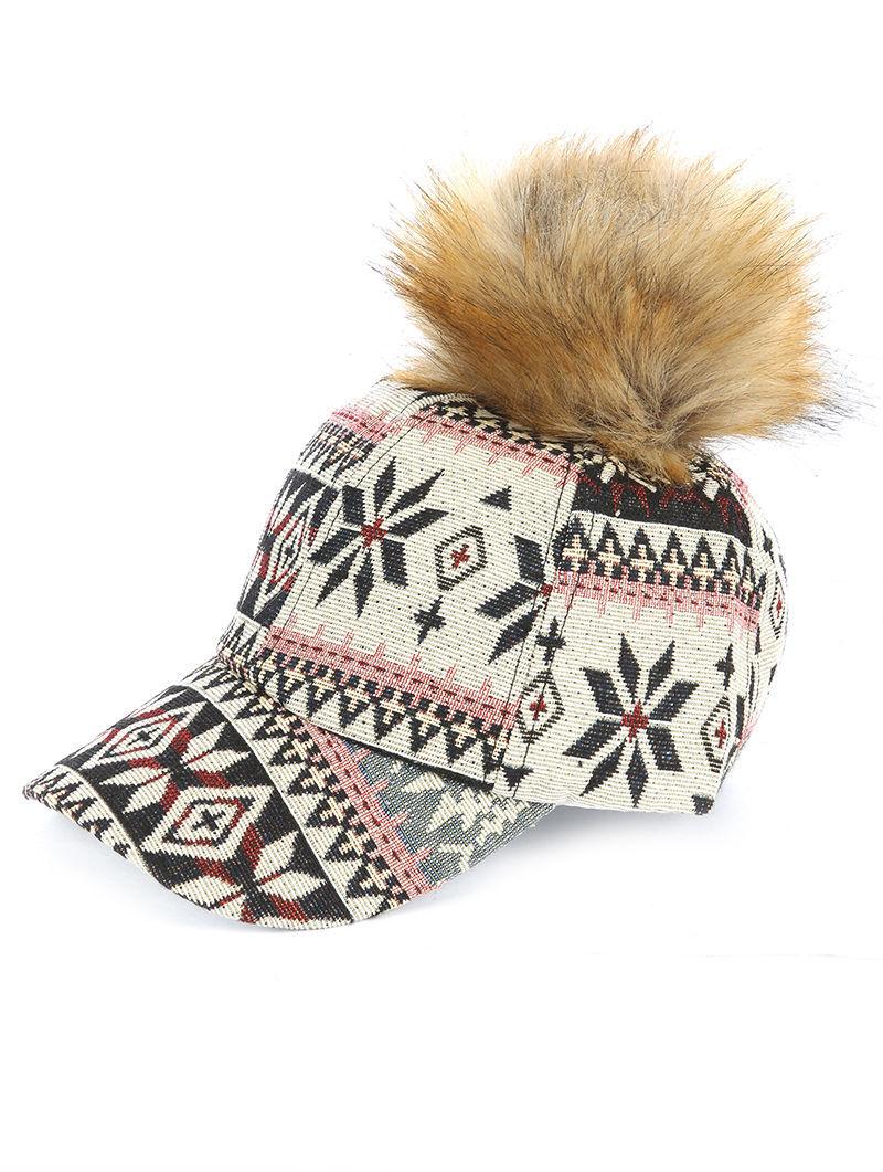 Faux Fur Pom Aztec Winter Print Baseball Cap Hat Snowflake Print Beige