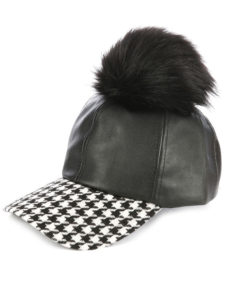 Faux Fur Pom Houndstooth Print Bill Baseball Cap Hat Black White