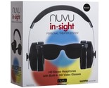 NUVU In-Sight HD Stereo Over-Ear Headphones with Built-In HD Video Glasses Black