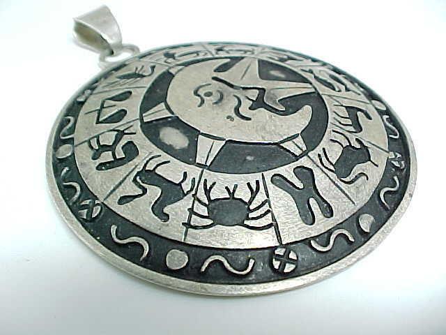HUGE Celestial Zodiac Vintage TAXCO Designer FRA PENDANT in STERLING - 3 inches