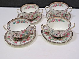 4 Royal Doulton Dresden Indian Tree Cream Soup Bullion Cups & Saucers  - $99.00