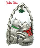 Vintage JJ Pin with Kissing Kitties Under The Christmas Mistletoe  - $18.00