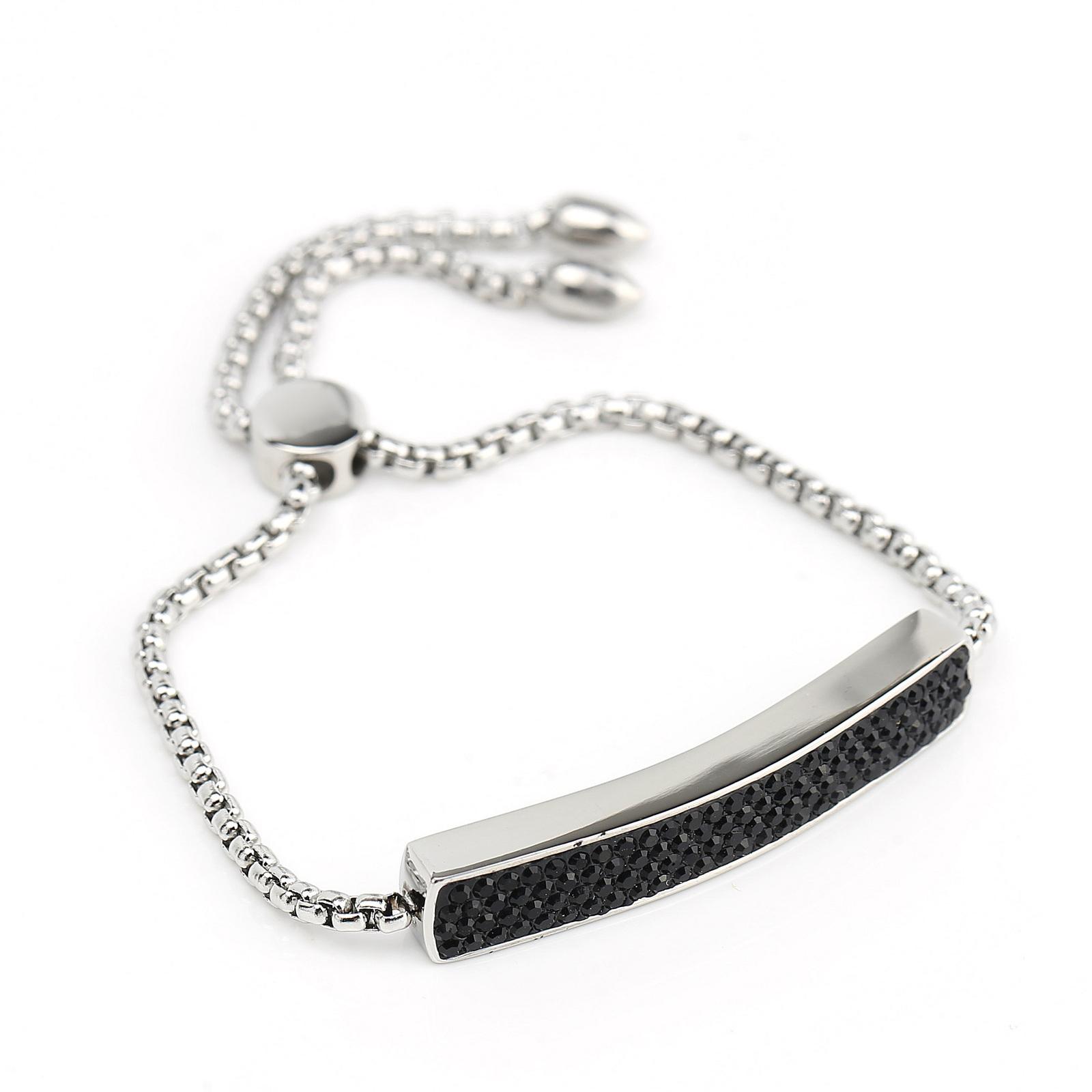 UNITED ELEGANCE Silver Tone Bolo Bar Bracelet, Black Swarovski Style Crystals