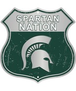 """Michigan State Spartan Nation Highway 12"""" x 12"""" Embossed Metal Shield Sign - $16.95"""