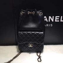 AUTHENTIC 2015 CHANEL QUILTED BLACK LAMBSKIN BACKPACK BAG GHW image 2