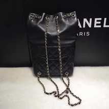 AUTHENTIC 2015 CHANEL QUILTED BLACK LAMBSKIN BACKPACK BAG GHW image 3